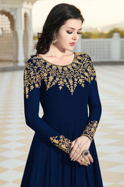 Dark Blue Awesome Diamonds Work Gown for Function Wear
