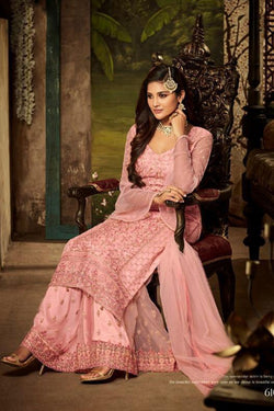 Attractive pink Sequence Embroidered Party Wear Dress