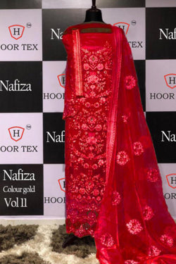 Party Wear Designer Salwar Suit In Red Bride Net