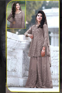 Function Wear Pakistani Suit in Dark Gray Stone Work