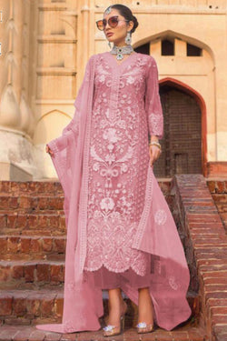 Party Wear Sequence Embroidery Work Salwar Suit in Pleasing Pink