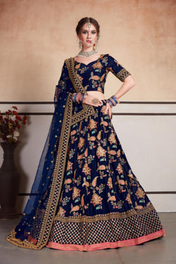 Taffeta Silk Bollywood Style Lehenga Choli in Pleasing Navy Blue