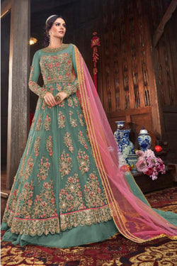 Wedding Wear Vaishnavi Net Indo western suit in Pale Blue