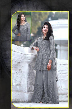 Wedding Wear Pakistani Style Salwar Suit in Gray