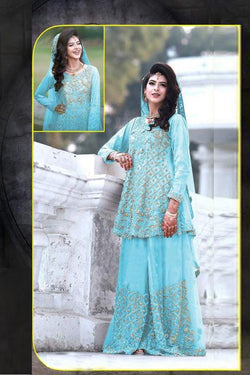 Party Wear Designer Palazzo Suit In Sky Blue