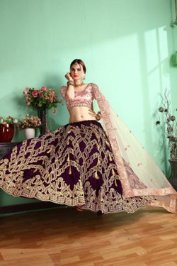 Magenta Velvet Bollywood Lehenga Choli For Reception Party