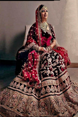 Diamond Work Bridal Lehenga Choli in Maroon Velvet