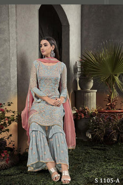 Latest Trendy Festive Wear Plazzo Suit in Thread Work
