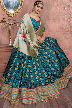 Wedding Function Wear Banarasi Silk Embroidered Bridal Lehenga Choli