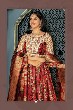 Bridal Wear Designer Banarasi Silk Bollywood Lehenga Choli in Maroon