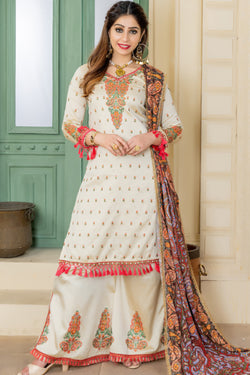 Trendy Thread Embroidery Work Festive Wear Palazzo Style Salwar Suit in Cream