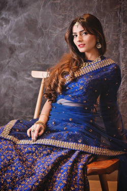 Wedding Reception Wear Raw Silk Bollywood Style Lehenga Choli in Blue Dori Sequence Work