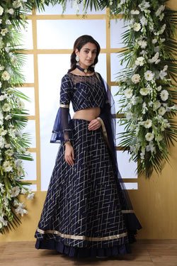 Bride Net Sequence Work Reception Wear Lehenga Choli in Navy Blue