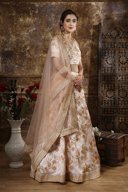 Bridal Lehenga Choli in Peach Codding Zari Work for Reception Wear