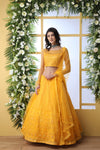 Function Wear Sequence Work Bollywood Lehenga Choli in Mustard Yellow