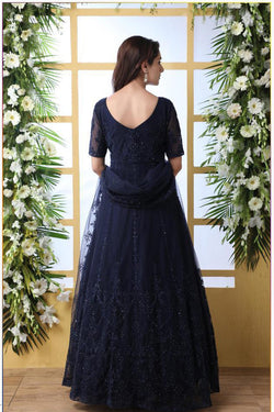 Party Wear Bride Net Thread Work Designer Gown in Navy Blue