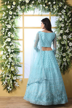 Bollywood Style Lehenga Choli in Skyblue Bride Net with Thread Embroidery Work