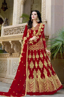 Latest Trendy Diamond Work Designer Anarkali Gown in Stuning Red