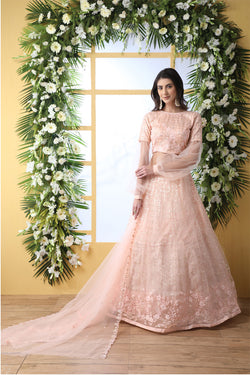 Festive Wear Net Embroidered Work Lehenga Choli In Peach