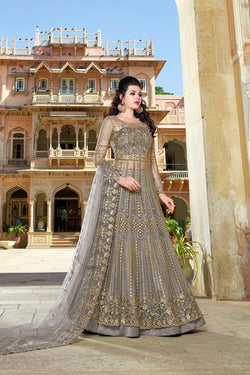 Party Wear Butterfly Net Designer Trendy Gown In Slategray