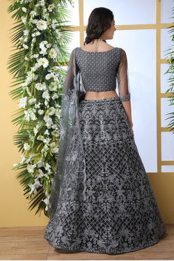 Embroidered Work Bride Net Bollywood Lehenga Choli For Reception Party