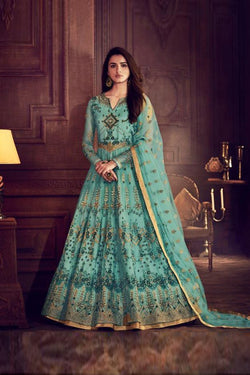 Splendid Pale Blue Evening Function Wear Trendy Western Gown