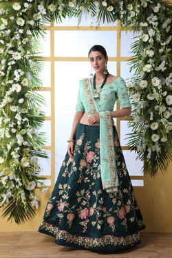 Party Wear Artsilk Lehenga Choli in Sky Blue Thread Sequence Embroidered Work