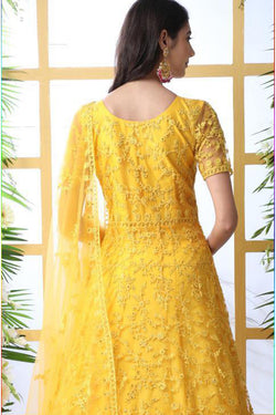 Thread Embroidered Work Function Wear Indian Gown In Yellow