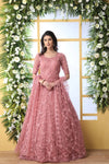 Festive Wear Bride Net Embroidered Stone Work Gown in Pink