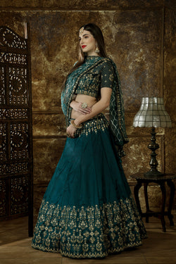 Wedding Wear Beauteous Thread Zari Embroidered Work Teal Green Lehenga Choli