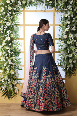Thread Zari with Sequence Embroidered Work Bollywood Lehenga Choli in Navy Blue Artsilk