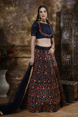 Reception party Wear Thread Zari with Sequence Embroidered Work Designer Lehenga Choli