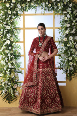 Wedding Wear Art Silk Embroidered Work Designer Lehenga Choli in Maroon