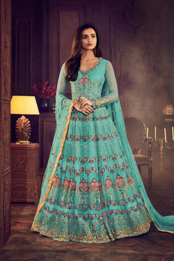 Bride Net Wedding Sangeet Wear Designer Long Flair Gown in Aqua Blue