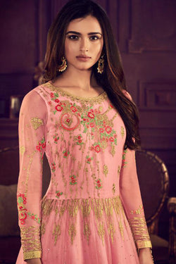 Embroidered Work Evening Function Wear Anarkali Designe Gown in Lotus Pink