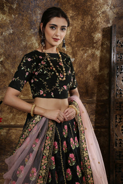 Party wear Bridal Lehenga Choli in Awesome Black Phantom silk
