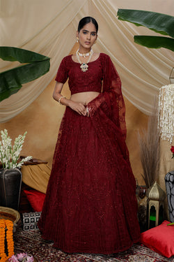 Bride Net Maroon Bollywood Style Lehenga Choli in Thread Embroidered Work