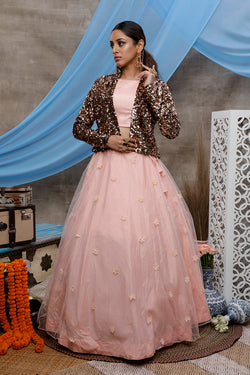 Peach Pleasing Flower Pasting Sequence Embroidered Work Function Wear Lehenga Choli