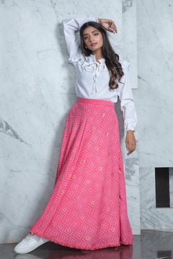 Beautiful Rayon Fabric Festival Wear Printed Skirt in Pink With White Top