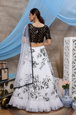 Sequence Embroidery Work Function Wear Bollywood Style Lehenga Choli in White Bride Net