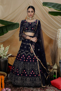 Multi Thread Codding Embroidered Work Wedding Wear Bride Net Designer Lehenga Choli