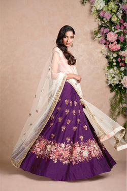 Raw Silk Thread Work Evening Function Wear Lehenga Choli in Purple