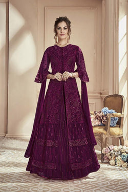 Butterfly Net Evening Function Wear Embroidered Work Indo Western Salwar Suit