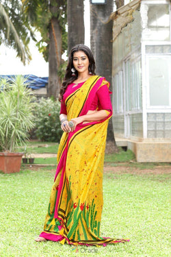 Party Wear Printed Saree in Amazing Suchitra Silk for Evening Function