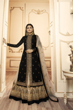 Sangeet Wear Indo Western Suit in Amazing Black Bride Embroaidry Work