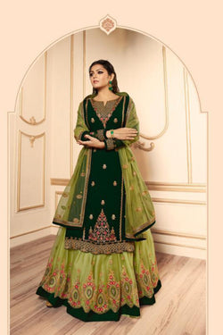 Bollywood Party Wear Suit in Amazing Green Bride Net with Embroidery Work