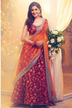 Red Silk Embroidered Lehenga Choli For Party Wear from Anushka Sharma Wardrobe
