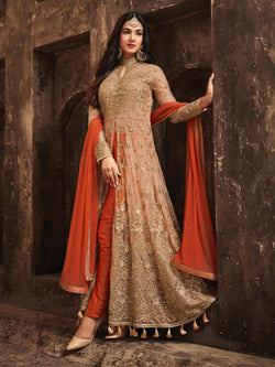 Appealing Peach Net with work Reception Wear Indo Western Suit