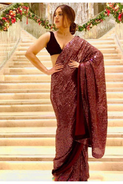 Sabyasachi Designed Stylish Bollywood Party wear Saree from Bhoomi Padnekar