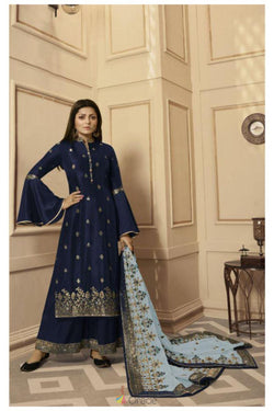 Evening Reception Wear Bollywood Suit in Navy Blue Rangoli Silk